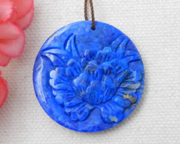 Sale Abstract Flower Pendant Bead, Natural Lapis Lazuli Flower E389