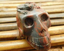 Red jasper gemstone carving frog with skull (S026)