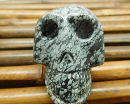 Snowflake obsidian gemstone skull carving decoration (S037)