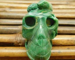African jade carved skull ornament (S047)