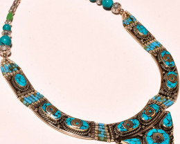 Tibetan  Ethnic Gemstone Fashion Jewelry Nepali Necklace 18""
