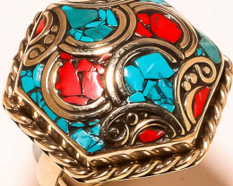 Red Coral Tibetan Turquoise Gemstone Jewelry Adjustable Nepali Ring