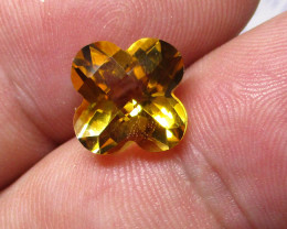 4.36cts Golden Yellow Citrine Flower Checker Board Shape
