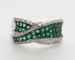 14ct Multi-Emerald White Gold Ring with Diamonds (DE4R)