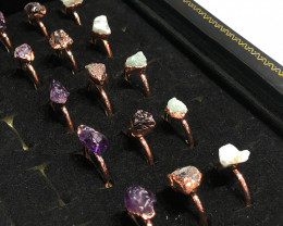 Raw Amethyst ,Garnet ,Aventurine gemstones Copper Rings 15 pcs BR 2314