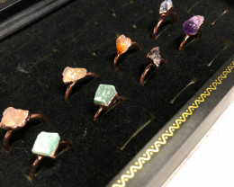 Eight Raw gemstones Ring Size 7 Copper Rings BR 2324