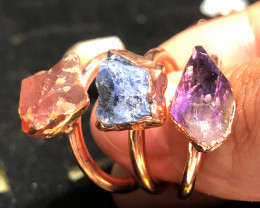Eight Raw gemstones Ring Size 6 Copper Rings BR 2333