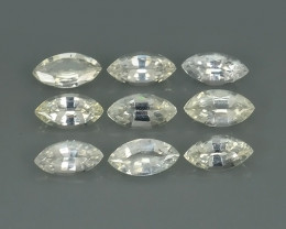 1.45 CTS UNHEATED AWESOME WHITE SAPPHIRE FACETED GENUINE 9 PCS