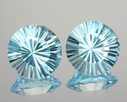 ~PAIR~ 5.58 Cts Natural Sky Blue Topaz 9mm Round Concave Cut Brazil