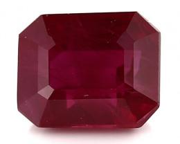 1.30 Carat Emerald Cut Ruby: Deep Rich Red