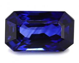 2.83 Carat Emerald Cut Blue Sapphire: Rich Royal Blue