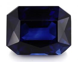 1.00 Carat Emerald Cut Blue Sapphire: Fine Royal Blue