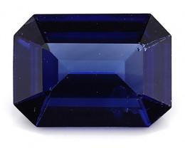 0.77 Carat Emerald Cut Blue Sapphire: Royal Blue