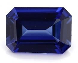 0.98 Carat Emerald Cut Blue Sapphire: Rich Royal Blue