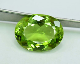 6.85 Carats Oval Cut Lime Green Color Peridot Loose Gemstone From Supat Min