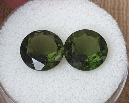 7,84ct Moldavite pair - Natural faceted Tektite!
