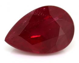 1.69 Carat Pear Shape Ruby: Deep Red