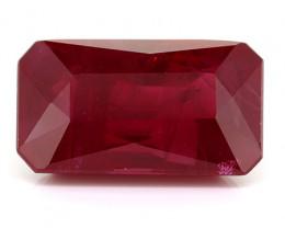 3.13 Carat Emerald Cut Ruby: Rich Pigeon Blood Red