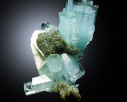 Aquamarine Crystals Cluster with Mica and Feldspar Mineral Specimen from Sk