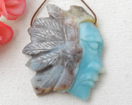 182.5cts Designer, Indian Carving ,Amazonite Indian Pendant Bead E379
