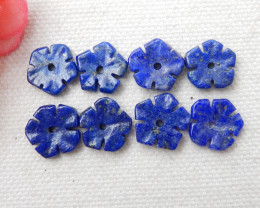 4pairs 25.5Cts Natural Lapis Lazuli Flower Flower Carving Earring Beads E40