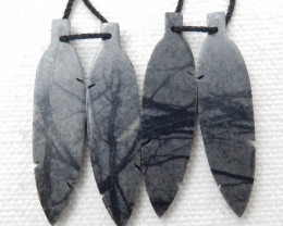 2 pairs 35cts New design natural gemstone picasso jasper carved Feather sha