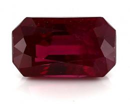 0.98 Carat Emerald Cut Ruby: Deep Rich Red