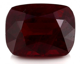 1.57 Carat Cushion Cut Ruby: Rich Pigeon Blood Red