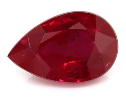 1.16 Carat Pear Shape Ruby: Pigeon Blood Red
