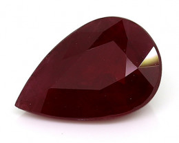 1.31 Carat Pear Shape Ruby: Rich Darkish Red