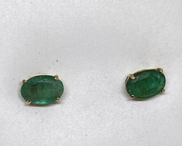 Stunning 1.18 tcw. Natural Brazilian Emerald Earrings Untreated Retail $500