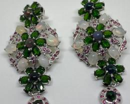 Fascinating 151.52 tcw. Fire Opal, Black Opal, Chrome Diopside Earrings