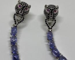 Splendid Nat 48.26 tcw Top Rich Violet Blue Tanzanite CZ Earrings Untreated