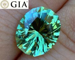 GIA - 4.16 ct Vivid Green Tourmaline - Loupe Clean - Custom Cut by BlueTour