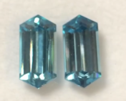 Pretty Elongated Hexagonal Cut Blue Zircon Pair - Cambodia HE04