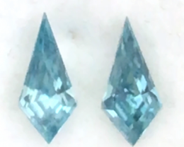 Pretty 'Kite' shape Blue Zircon Pair - Cambodia H4585