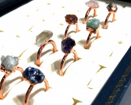 Eight Raw gemstones Ring Size 6 Copper Rings BR 2416
