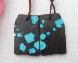 20.5cts Nugget Turquoise Earrings,Handmade Gemstone ,Turquoise Earrings ,Lu