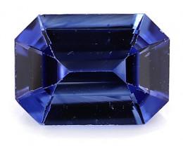 0.92 Carat Emerald Cut Blue Sapphire: Deep Rich Blue