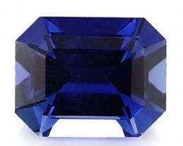 0.90 Carat Emerald Cut Sapphire: Deep Royal Blue