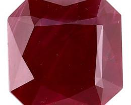 2.08 Carat Emerald Cut Ruby: Deep Rich Red