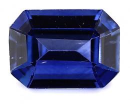 0.83 Carat Emerald Cut Blue Sapphire: Rich Royal Blue