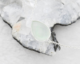 CHALCEDONY NECKLACE NATURAL GEM 925 STERLING SILVER JN35
