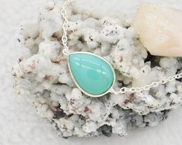 CHALCEDONY NECKLACE NATURAL GEM 925 STERLING SILVER JN36