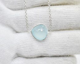 CHALCEDONY NECKLACE NATURAL GEM 925 STERLING SILVER JN39