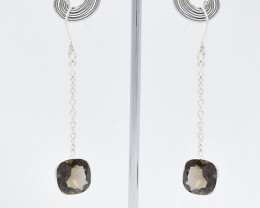 SMOKY QUARTZ EARRINGS 925 STERLING SILVER NATURAL GEMSTONE JE66