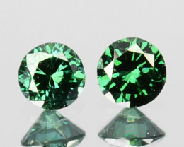 ~PAIR~ 0.11 Cts Natural Diamond Flashing Green 2.1mm Round Africa