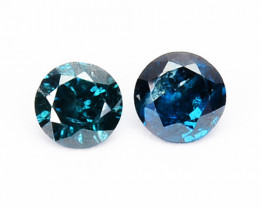 0.08 Cts Natural Electric Blue Diamond 2Pcs Round Africa