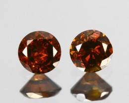0.15 Cts Natural Cognac Diamond 2Pcs Round Africa
