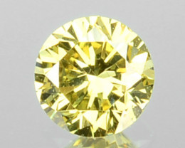 0.14 Cts Natural Untreated Diamond Fancy Yellow 2.6mm Round Cut Africa